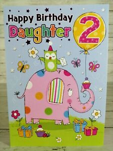 Two 2 Years Old, Birthday Card For Daughter, Pink Elephant With Balloon & Owl