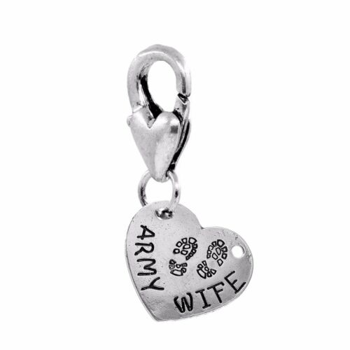 Army Wife Footprint Heart Deployed Serviceman Clip On Dangle Charm for Bracelet