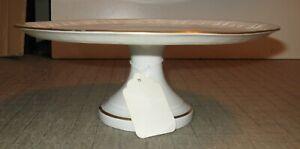 """Vintage LIMOGE 11"""" Diameter 4.5"""" Tall Pedestal Cake Plate - Gold Floral Design"""
