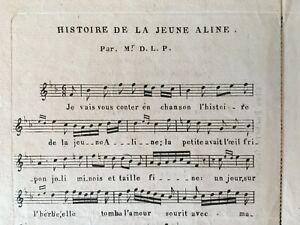 Spartito Histoire Della Giovane Aline Per Mr D. L.P.Musica Utolme Casa Beckers
