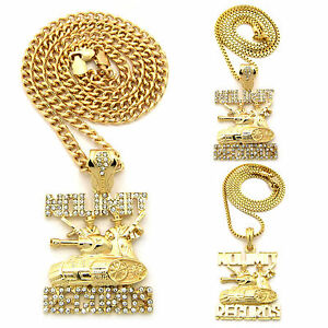 mens hip hop no limit records charm pendant cuban link box