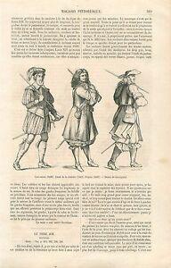 Costume-Louis-XIV-Comte-de-Chatillon-Cent-Suisse-Piquier-GRAVURE-OLD-PRINT-1860