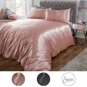 Sienna Satin Silk Duvet Cover with Pillowcases Bedding Set, Blush Pink Silver
