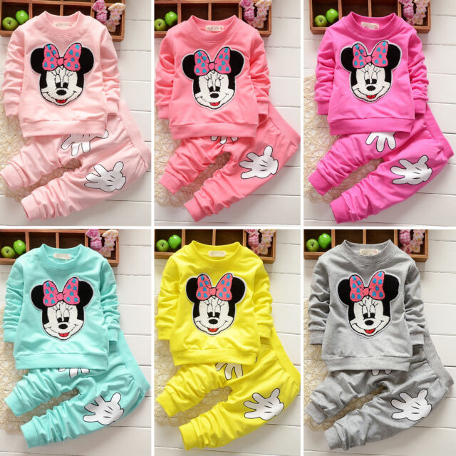 Toddler Kid Baby Girls Minnie Mouse Outfits Clothes 2Pcs Set T-shirt Top + Pant