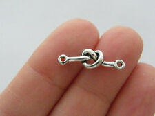 6 love knot connector charm antique silver tone R110