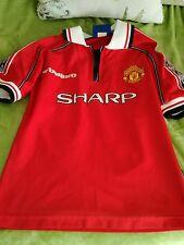 Manchester United boys age 8_9 years vintage umbro shirt Treble 99 on back