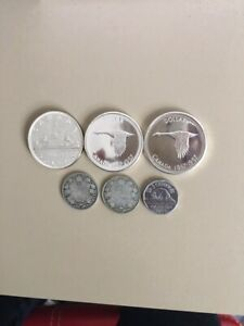 CANADIAN-Silver-2-25-Cts-1921-50-Cts-1958-47-5-Ct-1953-SS