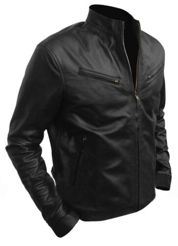 Men/'s VIN DIESEL Classic Fashion FAST AND FURIOUS 6 Giacca in Pelle Nera