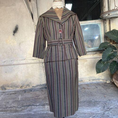 Vintage 1940s Brown & Green Striped Knit Dress Set