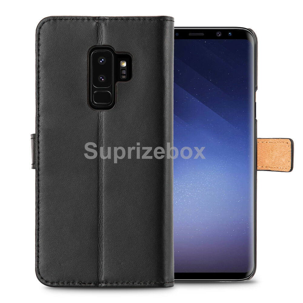 factory price 71988 bb69b Details about Real Genuine Leather Flip Wallet Slim Case Cover For Samsung  Galaxy S9 Note 9
