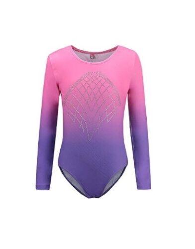 Long Sleeves Pink Gradient Gymnastics Leotard Girl Sparkle Bodysuits Ballet
