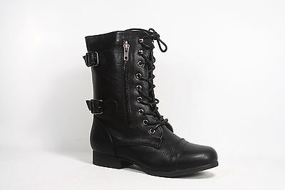 Cute Round Toe Low Heel Combat Military Lace Up Mid Calf Boot  NEW Size 5.5 - 10