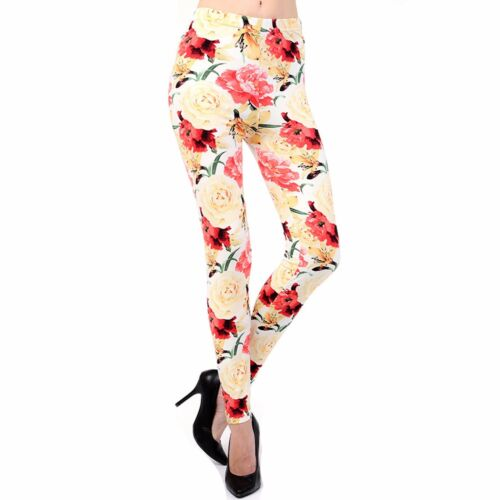 Women/'s Ivory Rose Printed Leggings Buttery Soft Peach Skin One Size 0-12