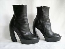 Ann Demeulemeester Black Leather Platform Peep Toe Ankle Boot Slant Heel 38