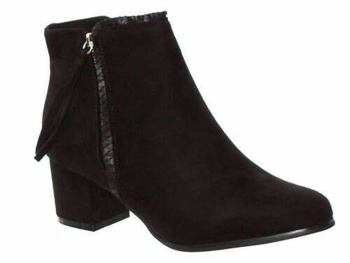 New Women's Block Heel Ankle High 2 Side Zips Faux Suede Pointed Toe Boots
