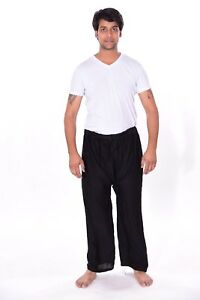 Men-039-s-Indian-Cotton-Baggy-black-Solid-Trouser-Pants-Big-amp-Tall-Pajama-Joggers