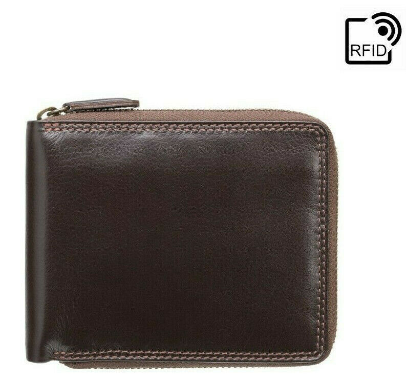 Visconti Real Leather Zip Around RFID 3 Card Men's Wallet Gift Boxed HT14