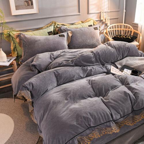 Bedclothes Bedding set 4pcs Winter thicken warm duvet set flat sheet pillowcase