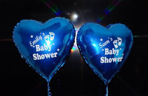 """Christening Personalised Foil Balloon Blue 18/"""" heart with Name and message"""