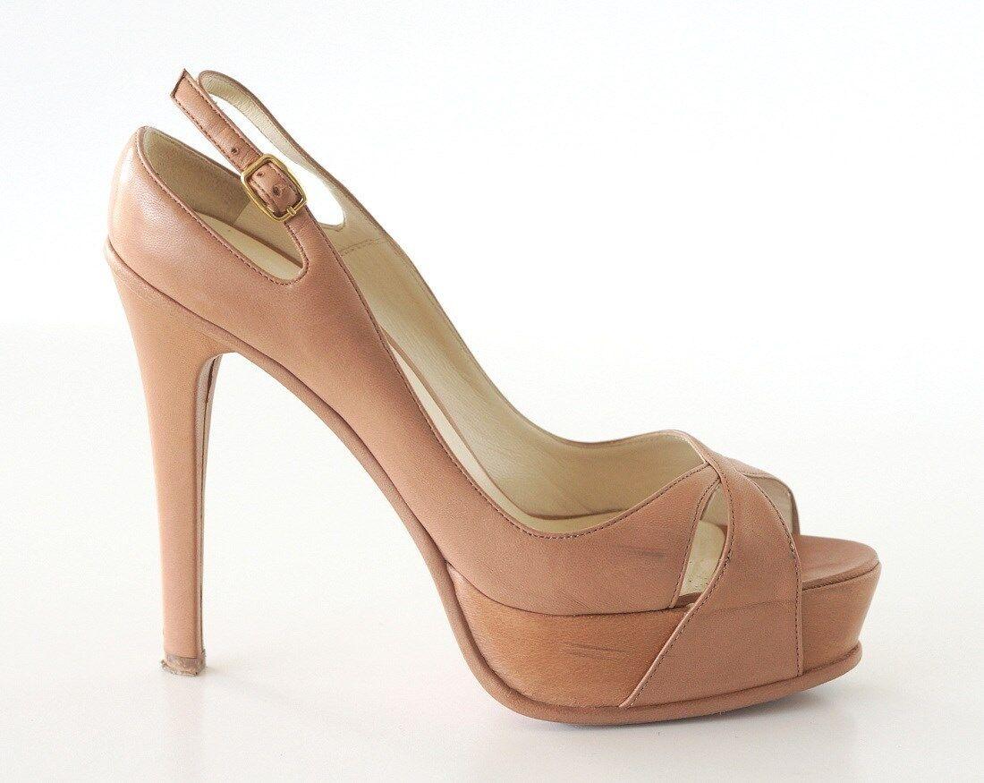 Brian Atwood Zapato Zapato Zapato Plataforma Nude Cuero Suave Caja de 36.5 6.5  Sin impuestos