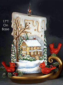Ceramic Bisque Ready to Paint Large Christmas Candle with scene