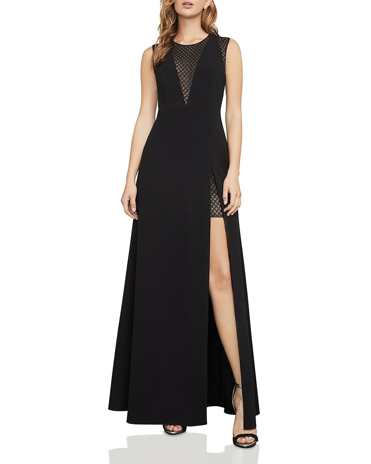 BCBGMAXAZRIA Mesh-Inset Gown MSRP  338 Size 12 AN 2132 NEW