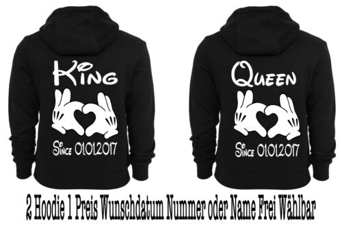 Hoodie Pullover 2 pezzi KING QUEEN pressione partner look Hipster coppiette XS 5xl