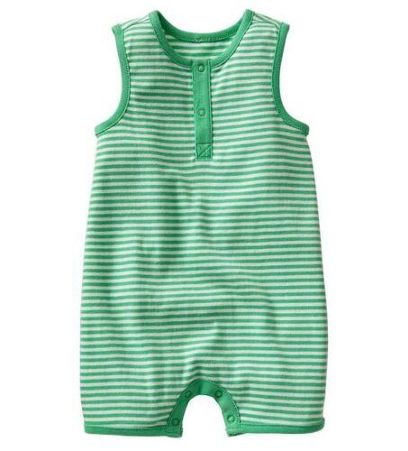 Gap baby boy girl unisex Green Stripe sleeveless tank one-piece Romper