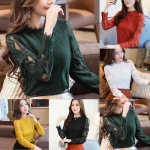 2019-Womens-Ladies-Long-Sleeve-Blouse-Shirt-Formal-Lace-Striped-Office-Slim-Tops
