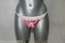 tanga string ouvert soie rose NAUGHTY JANET T 38 à 42   NEUF ÉTIQUETTE val 150€