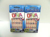 Broadway Fashion Diva Harajuka Style Glue On Nails 54034 Bhfd02 - Lot Of 2