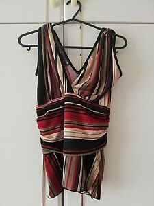 COTTON-CLUB-WOMENS-RED-BLACK-STRIPED-SLEEVELESS-BLOUSE-TOP-SIZE-8-PIT-TO-PIT-16