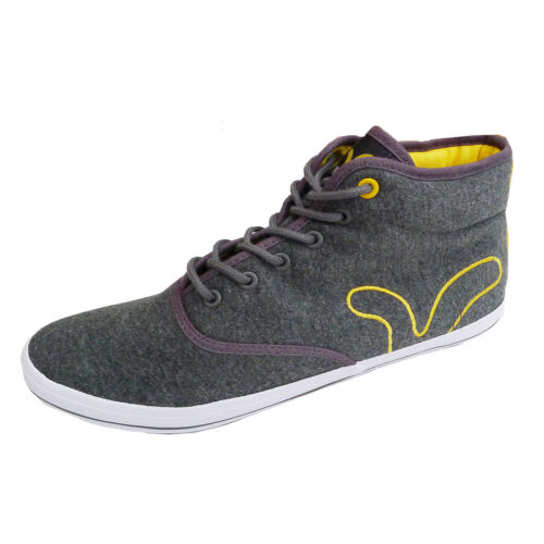 Mens Voi Jeans New Grey Designer Branded Canvas Hi Top Trainers Plimsoles Shoes