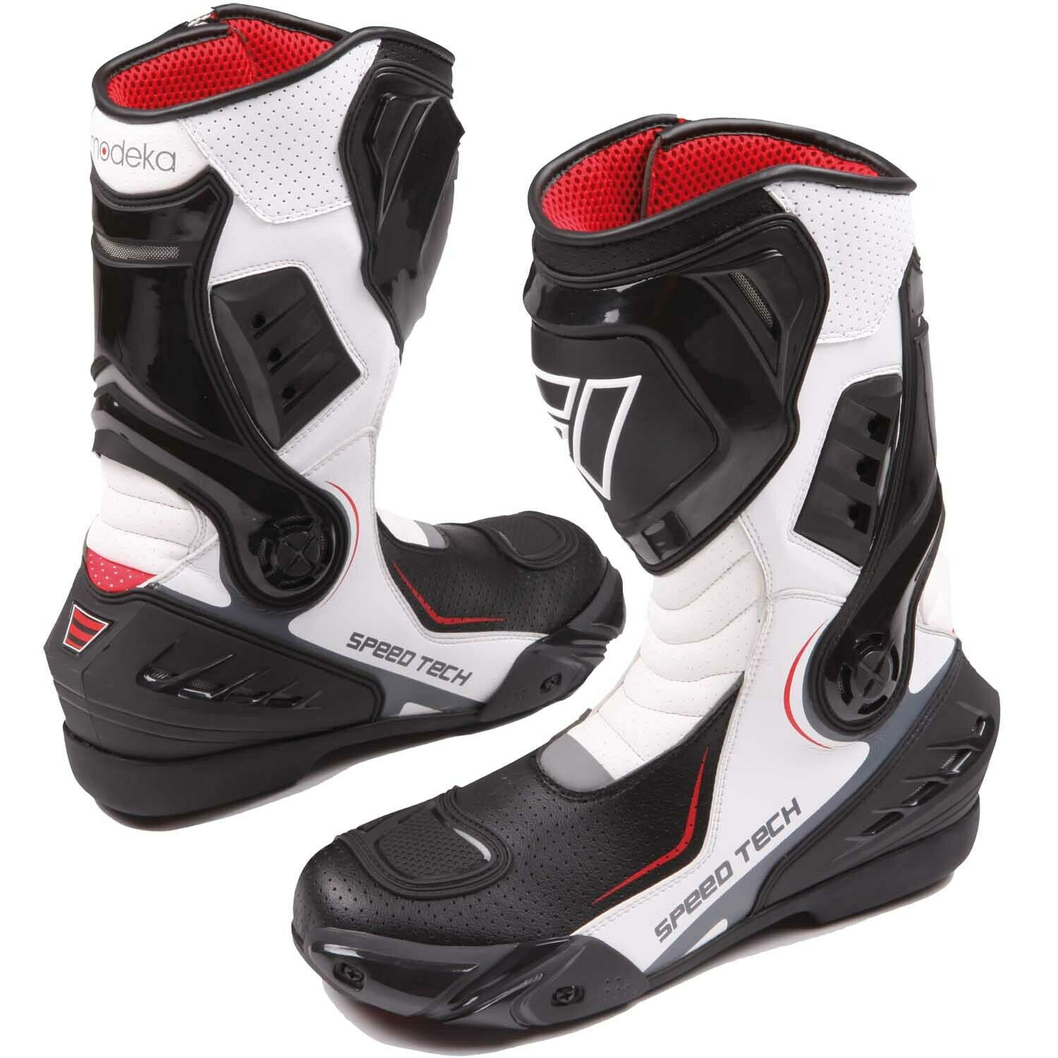 Modeka Speed Tech Men's Sports Motorcycle Boots Leather - Black White