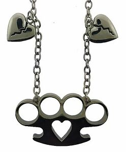 Brass knuckle heart love pendant necklace dog tag gothic tattoo image is loading brass knuckle heart love pendant necklace dog tag aloadofball Image collections