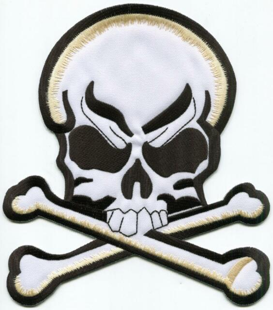 423d367071e Skull   Crossbones BIG XL 7 x 8 inches embroidered applique iron-on patch S