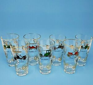 7 Glasses Antique Cars Cadillac Ford Reo Baker Packard ...