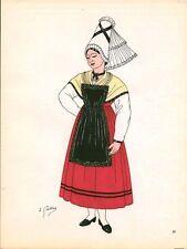 Gravure d'Emile Gallois costume des provinces françaises 1950 Normandie