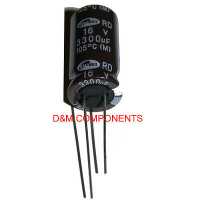SAMWHA Pack of 1 1000uF 63V Radial Electrolytic Capacitors 105/'C 2,5 or 10