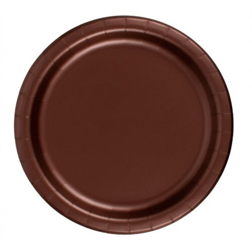 """Brown 24 Plates 6 7//8/"""" Paper Dessert Plates Wax Coated"""