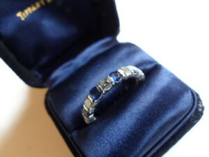 Details about Tiffany & Co Platinum Sapphire Diamond Full Circle Band Ring  2 10 TCW