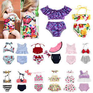 Newborn Infant Kids Baby Girls Bikini Swimwear Swimsuit Bathing Suit Beachwear