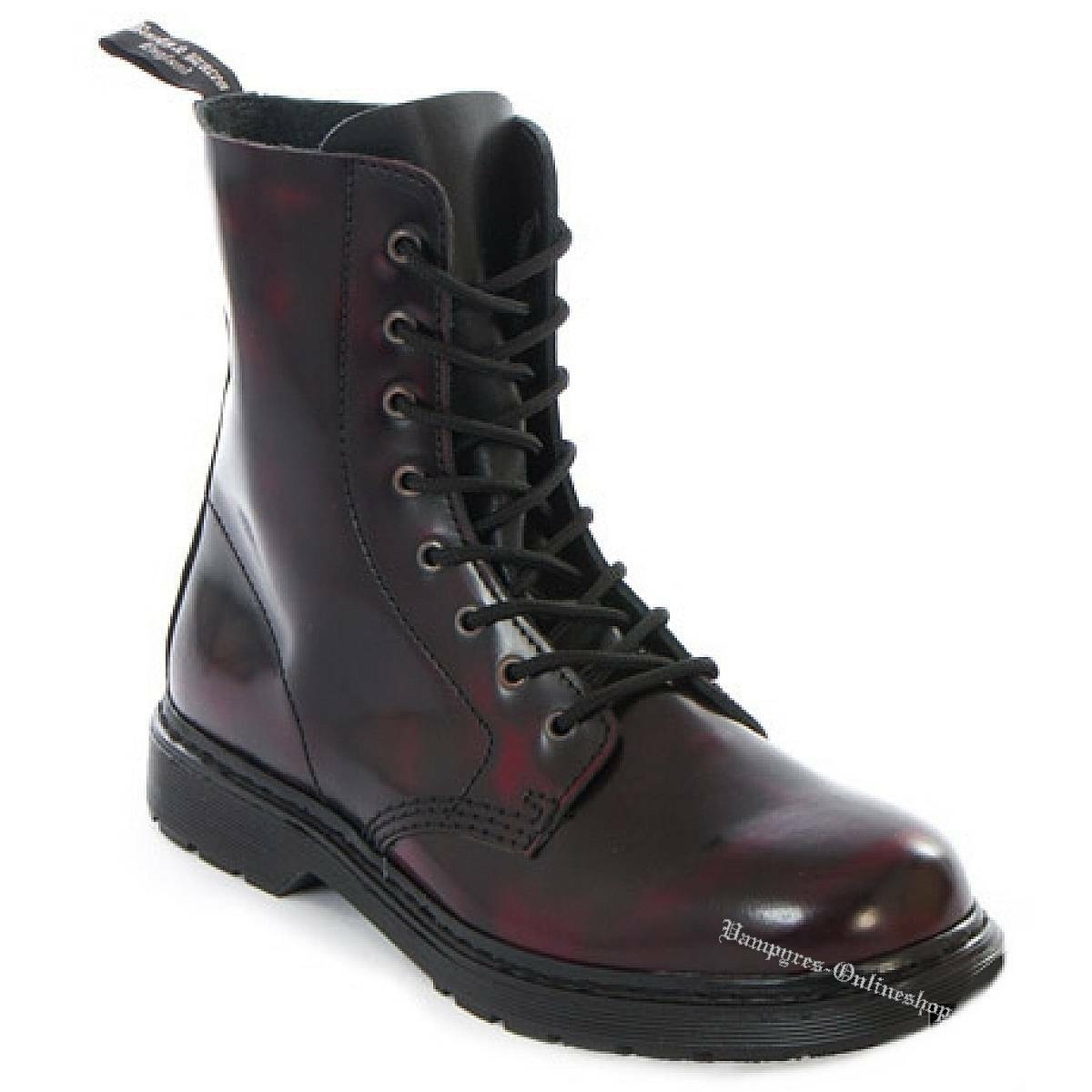 Boots and braces Easy 8 agujeros Burgundy Rub-off cuero negro rojo botas zapatos