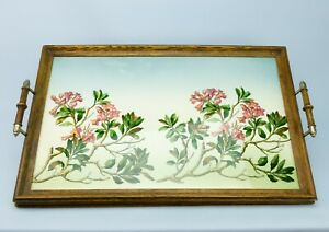 1900-Arts-amp-Crafts-Large-Serving-Tray-Ceramic-Floral-Oak-Handles-Antique-Vintage