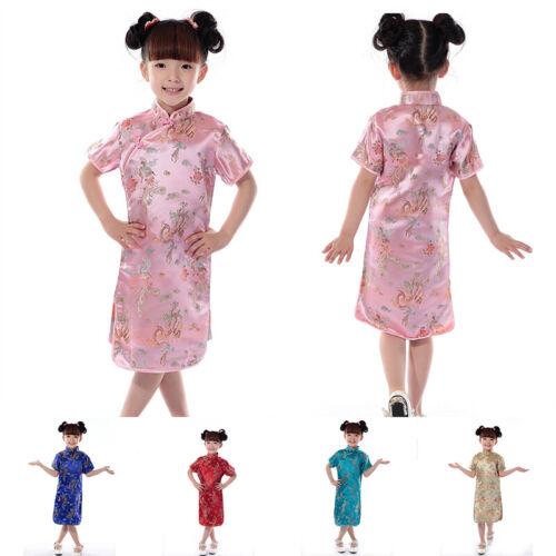 2019 New Chinese Oriental Childrens Girls Satin Printed Qipao Cheongsam Dress