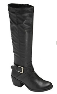 MANFIELD Wider Fitting Leather Look Buckle Detail Mid Calf Boots in Black