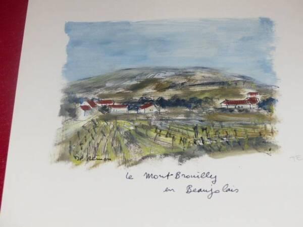 Jean-pierre Remon Acuarela Original Firmada Vino De Francia Beaujolais Brouilly Revitalizar La CirculacióN SanguíNea Y Detener Los Dolores