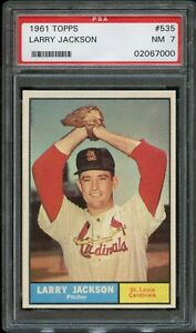 1961-Topps-BB-Card-535-Larry-Jackson-St-Louis-Cardinals-ROOKIE-PSA-NM-7
