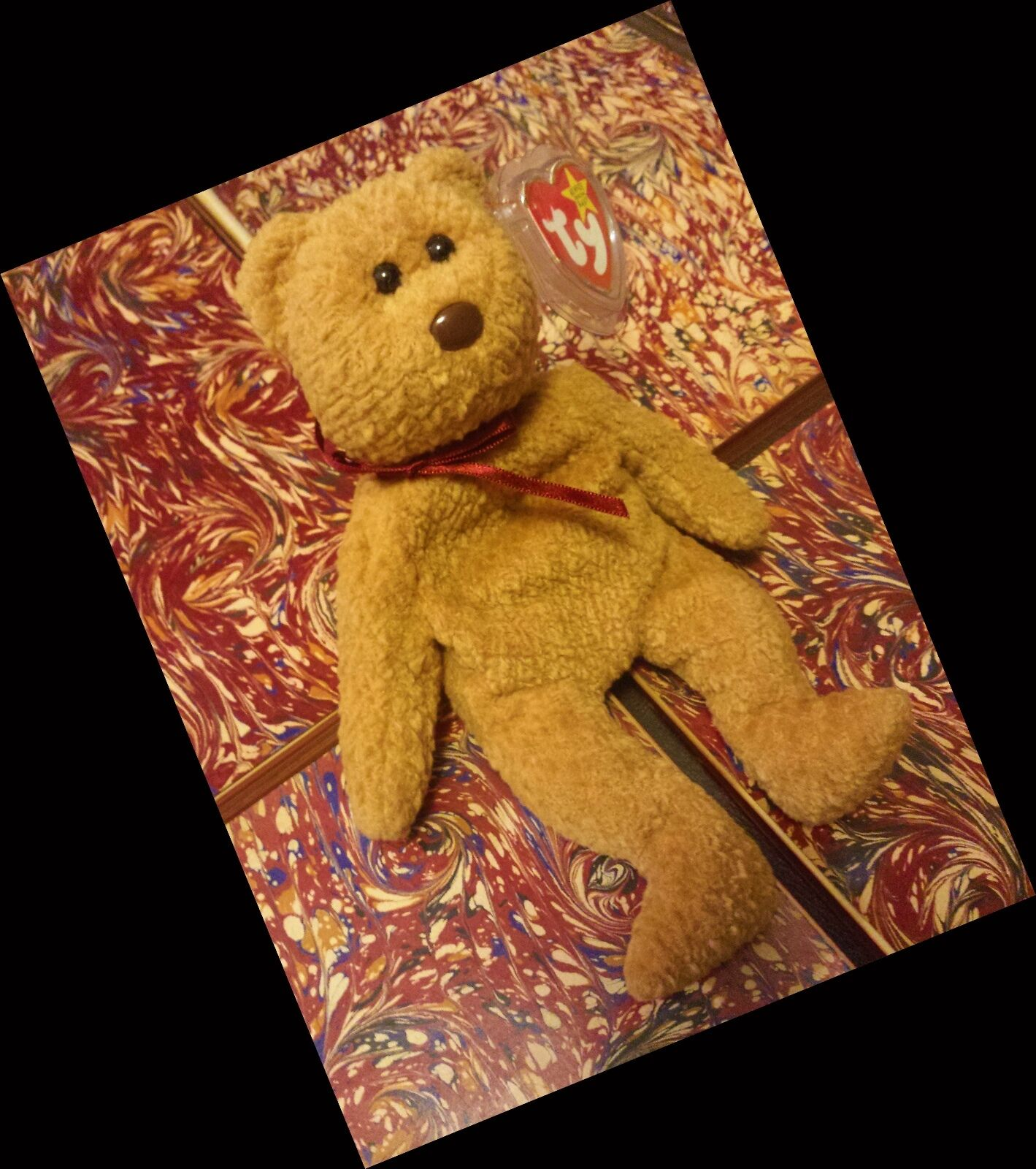 Süße elite selten ty  curly  bären - beanie baby fehler im ruhestand  origiinal  1993 - 96