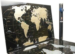 Premium Gift Gold Black Scratch off World.Personal large travel map,Push pin map